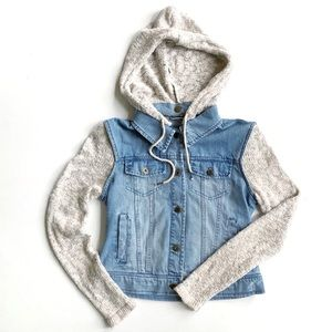 Billabong Denim Jacket W/ Knit Hood & Sleeves